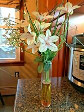 Artificial Silk Flowers White Bouquet In Glass Vase W/Artificial Water