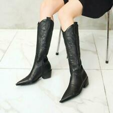 Women Mid Calf Knee High Boots Leather Embroidery Western Pointy Toe Chunky Heel