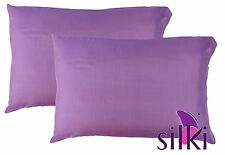 PAIR 100% Mulberry Pure Silk Pillowcases /slips/cover QUEEN STANDARD Lila Purple