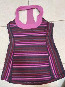 Lululemon Scoop Neck Tank, Workout Yoga, Size 8, Pink Red Stripe!