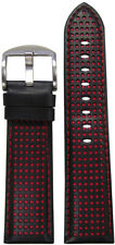22mm Panatime Black Perforated Leather Watch Band w/Red Holes & Stitching 22/20