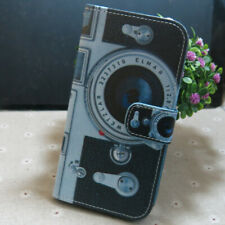 1x Retro Camera Wallet Card Slots Holder Flip TPU Case Cover For Smart Phone