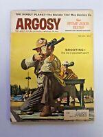 Vintage ARGOSY Men's Magazine Jack Dumas Cover Painting Shooting March 1958 307