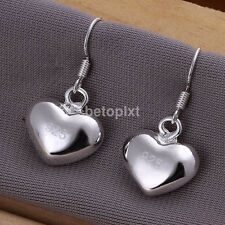 Silver Plated Fashion Women Lady Elegant Heart Drop Earrings Dangle Jewelry FA