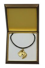 Kerry Blue Terrier - gold plated necklace with dog, in box, Art Dog Usa