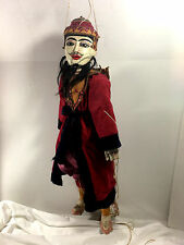 """Burmese Hand Made Antique Wood Red & Gold Marionette Puppet (26""""H)"""