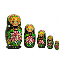 Beautiful Authentic Russian Hand Painted Black Pink Flower Nesting Dolls 5 pcs