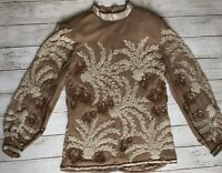 Oleg Cassini Sz 6 Vtg beaded, pearl, sequin blouse silk Brown Sheer Long Sleeve