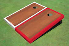 Rosewood Stained Center Red And White Border Custom Cornhole Board