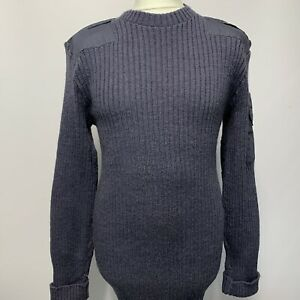 Blue Grey Crew Neck Combat Pullover Utility NATO Military Fitted Jumper