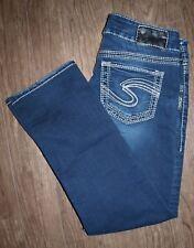 Silver Size 28 Women's Suki Mid Capri Dark Wash Capri Length Jeans