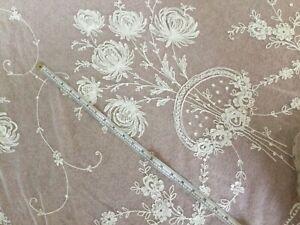 Antique tambour lace curtain - machine floral tambour lace, cream, very long