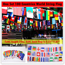 "100 Countries World String Flag 25M(82ft), 5.51""x 7.87"", Party, Bar Decorations"