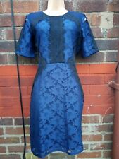 Oasis Navy Blue Lace  illusion wiggle pencil Dress Size 12 wedding cocktail