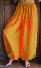 Harem Pants Belly Dance Chiffon Golden Yellow Orange Red Three Tone Glow