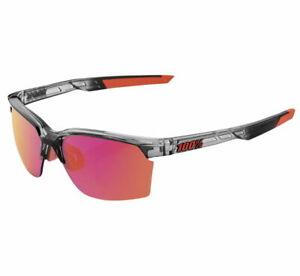 100% Sportcoupe Casual Sunglasses Cyrstal Smoke w/Purple Mirrored Lens NEW