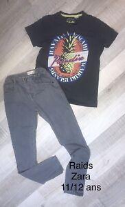 RAIDS ZARA 11 / 12 ANS : T Shirt gris Été + jean gris Coton  TBE