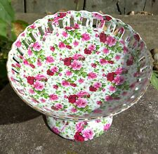 "*New* Victoria'S Garden Pierced Pedestal Decorative Dish With Roses 9"" x 6"""