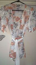 Jacqui E Sheer Cream/Tan Brown Floral Short/sl Top Size 8 Excellent Condition