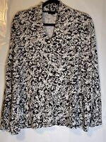 Talbots Woman Black, Gray And White Floral V Neck Long Sleeve Top Size 2X