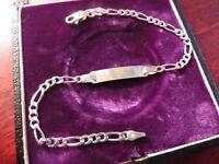 Hübsches 925 Silber Armband Modern Figarokette Plakette Für Gravur Unisex Edel