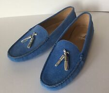So Cute!!! BOBBIES PARIS Blue Suede Driving Moccasins Loafers 39, 7.5 $145.00