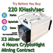 Bitmain Antminer X3 220 KHash/sec Guaranteed 4 Hours Mining Contract CryptoNight