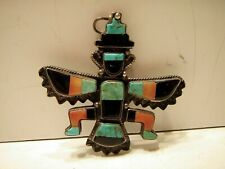 Figure Pendant Brooch Pin knifewing Vintage Silver Knife Wing Turquoise