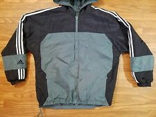 ADIDAS Reversible Hooded Jacket Large L Black White Gray Polyester/Fleece