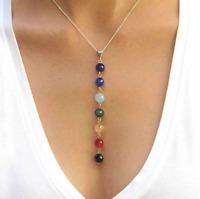 7 Chakra Beads Pendant Reiki Yoga Healing Balancing silver chain Necklace gift
