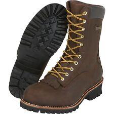 Gravel Gear 10in Waterproof Steel Toe Logger Work Boots- Brown Size 10 1/2