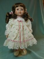 """Porcelain Collectible Dolls 15 1/2"""" Brown Hair with Floral Dress"""