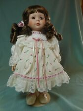 "Porcelain Collectible Dolls 15 1/2"" Brown Hair with Floral Dress"