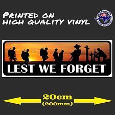 Anzac Day Lest We Forget Australian Army Car Decal Bumper iPad Vinyl Sticker