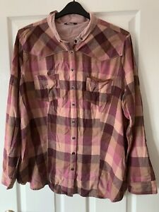 LADIES PINK CHECKED COTTON SHIRT TOP BLOUSE UK SIZE 22 GREAT CONDITION