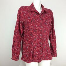 Crazy Horse Womens Petite Long Sleeve Button Front Top Sz PL Red Floral Print