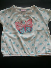 Butterfly T-Shirt ; White / Blue Polka Dot, Age 2-3 years