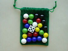 REPLACEMENT GAME MARBLES AND DICE 6 player 9/16 inch.