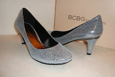 BCBGeneration BCBG Womens NWB Gumby Pewter Printed Snake Heels Shoes 6 MED NEW