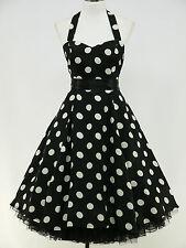 dress190 CHIFFON BLACK POLKA DOT 50's ROCKABILLY SWING PROM VINTAGE DRESS 24-26