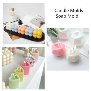 3D DIY Silicone Heart Cube Aroma Candle Molds Soap Mold Craft Wax Resin Mould