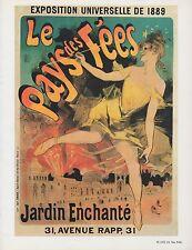 """1980 Vintage """"LE PAYS DES FEES"""" JARDIN CHERET MINI POSTER Art Plate Lithograph"""