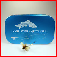 FLY BOX PERSONALIZED Aluminum FLY BOX BLUE Trout Rod - foam insert - mails FAST
