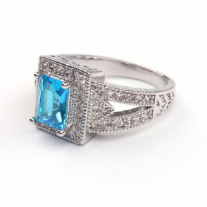 Brilliant Cut Blue Topaz 18ct White Gold GF Party Wedding Gift Engagement Ring