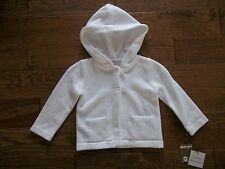 CATHERINE MALANDRINO Hooded White CARDIGAN SWEATER Girls Size 18 Months 18M NEW