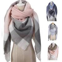 Women Winter Warm Shawl Scarf Ladies Tartan Check Neck Wrap Plaid Pashmina St fc