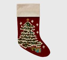 NEW Pottery Barn Christmas Tree Crewel Embroidered Christmas stocking
