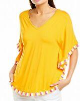 Trina Turk Womens Blouse Classic Yellow Size XS Delfano Fringe Trim $168- 023