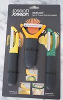 Joseph Joseph Multi-peel Set of 3 multi-function Peelers Stainless Steel New