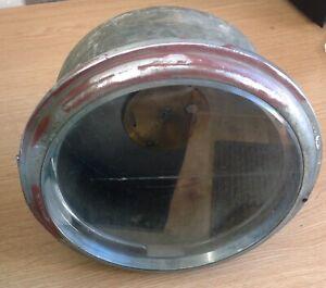 VINTAGE SHIPS BULKHEAD STYLE CLOCK CHRONOMETER CASE VERY HEAVY/SOLID 230mm Diam.